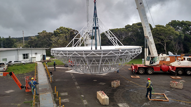 Controlled lift of the reflector begins