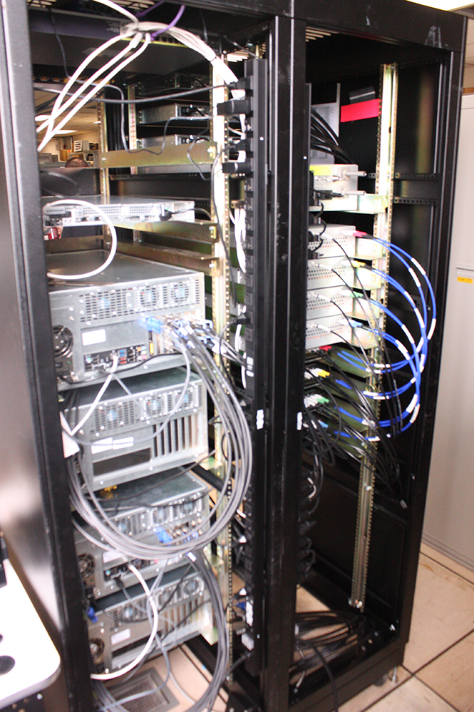 This photo shows the cabling and labeling behind the backend rack now that it is fully integrated for subsystem tests.