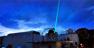 Laser at GGAO pointing toward sky